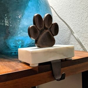 Paw Print Bronze and white Marble stocking holder